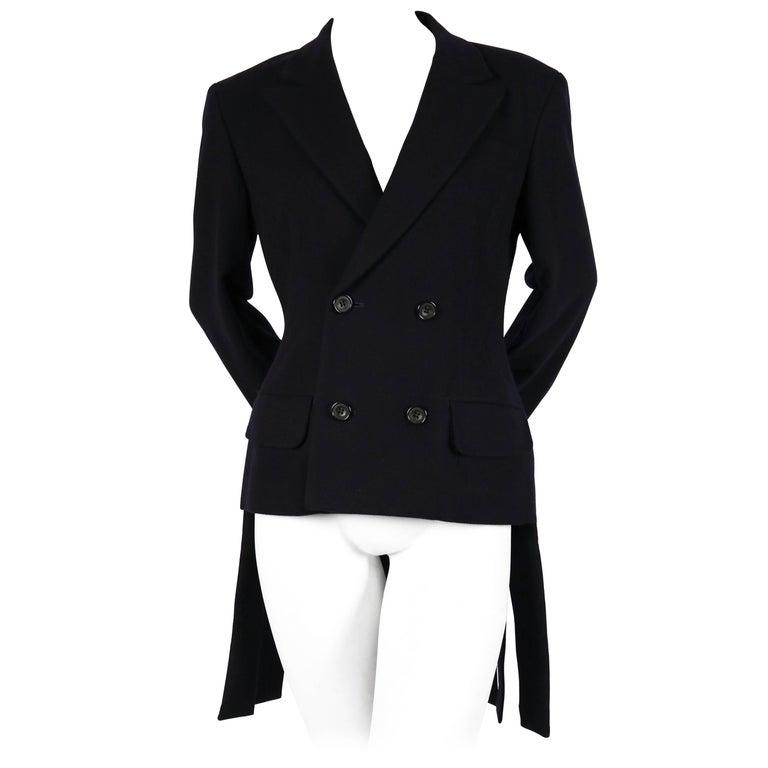 Yohji Yamamoto black wool jacket with carwash hemline, 1980s For Sale