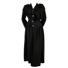 1985 COMME DES GARCONS navy wool draped dress with polka dots