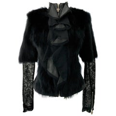 21st Century Leather Fox & Lace Shirt Jacket By, Royal Underground NWT