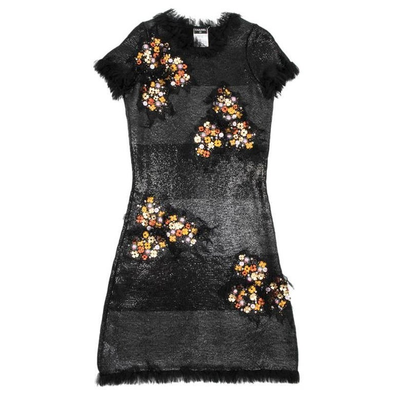 CHANEL 'Paris Monaco' Black Embroidered Dress in Wool and Silk Size 36FR For Sale