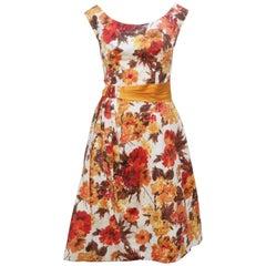 Autumnal 1950's Kay Selig Cotton Pique Floral Party Dress