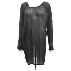 Ann Demeulemeester Black Silk Sheer Multifunction Top/Dress