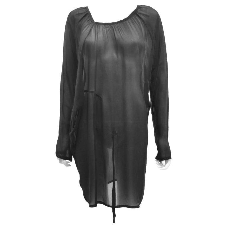Ann Demeulemeester Black Silk Sheer Multifunction Top/Dress 1