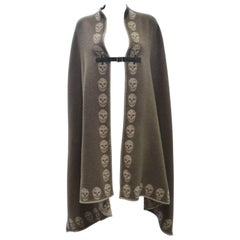 Alexander McQueen Khaki Cashmere Blanket Poncho with Skulls and Leather Buckle