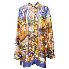 """1990s Hermès """"Grand cortège à Moscou"""" by Michel Duchene silk blouse"""