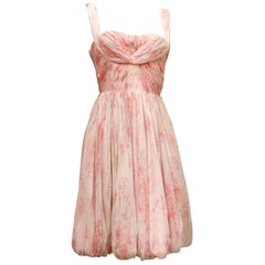 1960s, Carven Haute Couture bustier cocktail dress made of floral silk chiffon