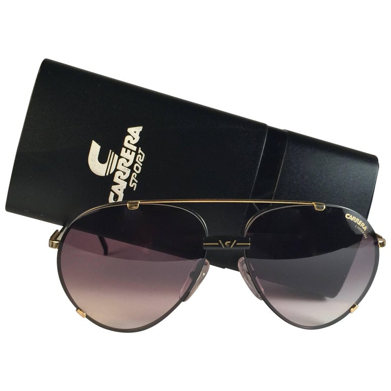 b9d8b97b2 New Vintage Carrera Aviator 5463 Black Gold Large Sunglasses Austria For  Sale