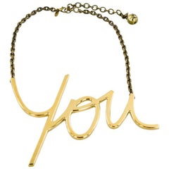 Iconic LANVIN 'YOU' Necklace in Gilded Metal with 18 Carat Gold