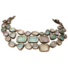 1998 Chanel silver plated breastplate necklace with pastel color cabochons