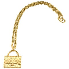1994 Chanel Gold-Plated 2.55 Quilted Handbag Pendant Necklace