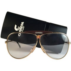 New Vintage Carrera Aviator Oversized 5566 Gold Large 1970's Sunglasses Austria