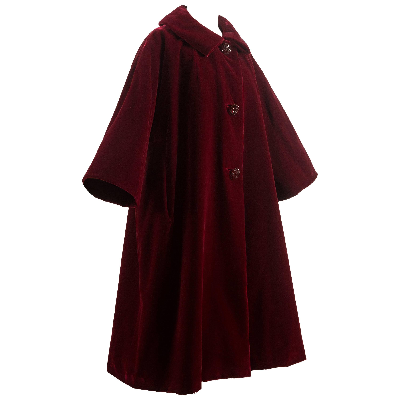 Christian Dior Haute Couture Autumn-Winter 1956 royal red silk velvet opera coat