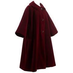 Christian Dior Haute Couture Autumn-Winter 1956 royal red silk velvet opera coat