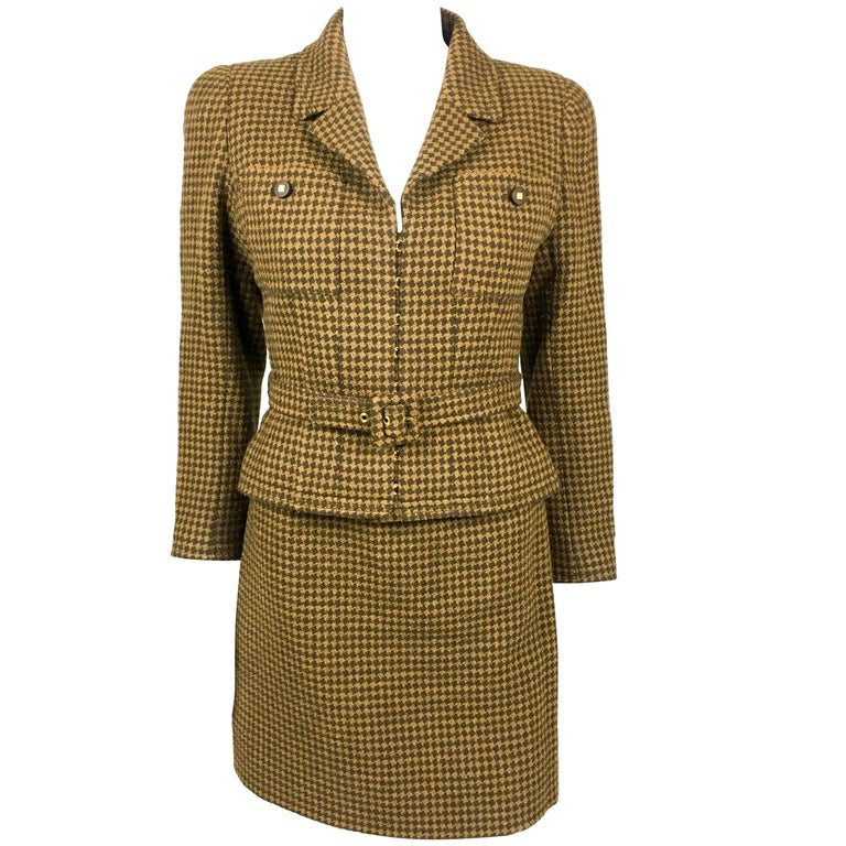 1996 Chanel Brown Houndstooth Skirt Suit