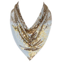 Disco Glam 1970's Whiting & Davis Gold Chain Mail Bib Necklace