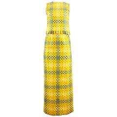 Couture Boutique Via Veneto 1960s checked woven skirt and vest ensemble