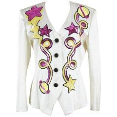 """Escada 1980s Off-White Star Motif Sequin Silk Satin Evening Jacket """"Hello Angel"""""""