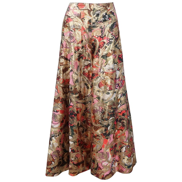 Fabulous C.1970 Metallic Print High Waist Palazzo Pants