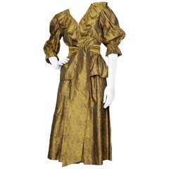 A 1980S Yves Saint Laurent Gold Brocade Skirt & Blouse Ensemble