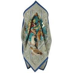 Jean Patou Paris Autumn-Coloured Silk Scarf Featuring Fruits Flowers And Birds