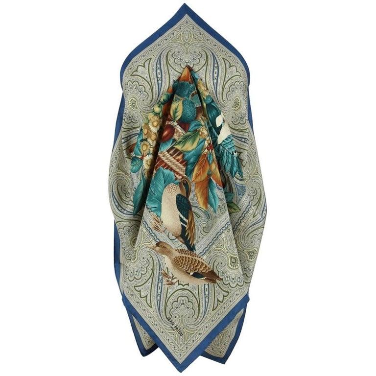 Jean Patou Paris Autumn-Coloured Silk Scarf Featuring Fruits Flowers And Birds