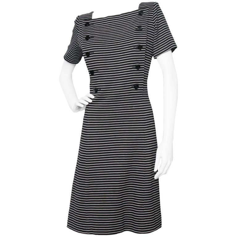1980s Yves Saint Laurent Striped Wool Dress