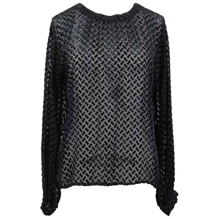 Nina Ricci Haute Boutique Paris Black Sheer Devoré Silk Blend Blouse, 1970s