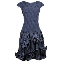 Louis Féraud 1980s Navy Silk Cocktail Dress With Bubble Skirt And Bow Detailing
