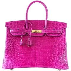 Hermes Birkin 35 Bag Scherezade Porosus Crocodile Gold Hardware