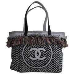 Chanel doucle C Tote Bag in Cotton and Leather.