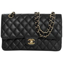 "Chanel Black Quilted Caviar 10"" Double Flap Classic Bag with DB"