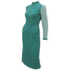 Adorable 1950's Anne Fogarty Green & White Wool Sweater Dress