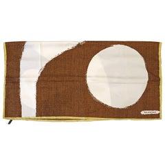 Balenciaga Abstract Brown & Cream Silk Scarf