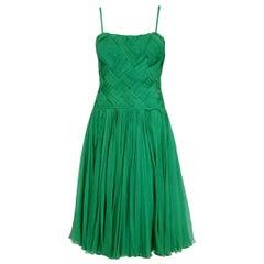1961 Carven Demi-Couture Seafoam Green Ribbon Weave Crepe Chiffon Party Dress