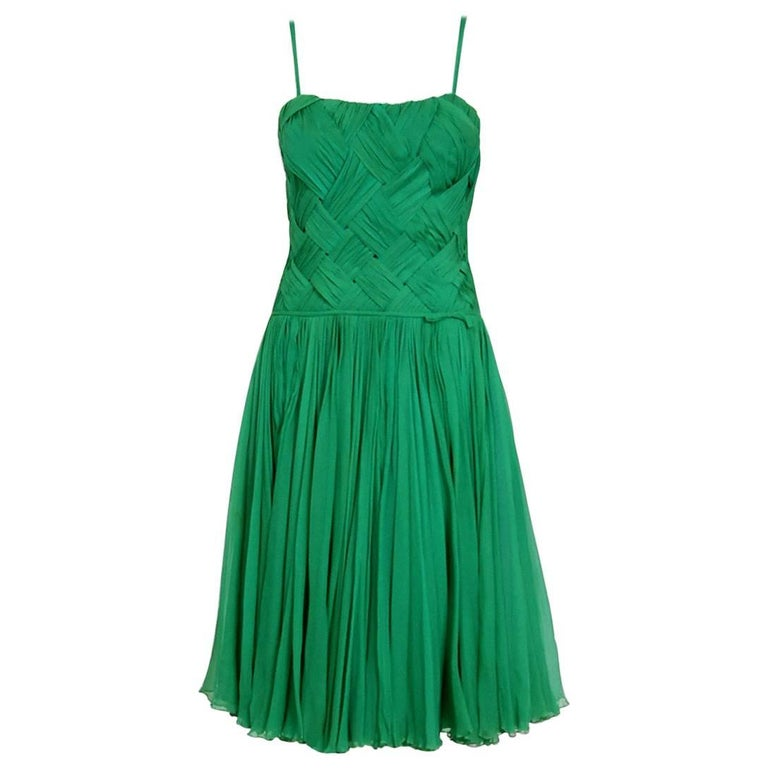 1961 Carven Demi-Couture Seafoam Green Ribbon Weave Crepe Chiffon Party Dress 1