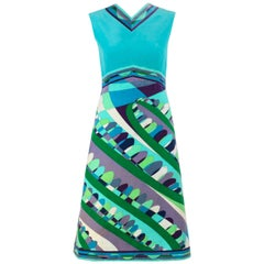 EMILIO PUCCI c.1960's Teal Multicolor Signature Op Art Velvet Print A-Line Dress