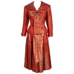 1952 Egyptian Couture Metallic Burgundy Red Silk Brocade Cocktail Dress Suit