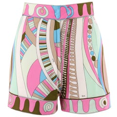 EMILIO PUCCI c.1970's Pink Multicolor Signature Op Art Print Silk Jersey Shorts