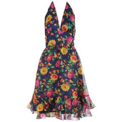 1970's Oscar de la Renta Floral Organza Multi-Layered Halter Day Dress