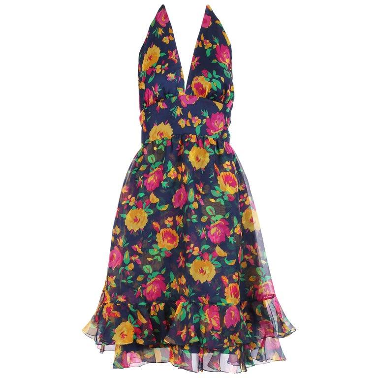 1960's Oscar de la Renta Floral Organza Multi-Layered Halter Day Dress