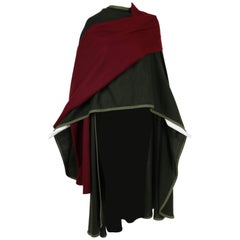 1970's Rare Yves Saint Laurent YSL Green & Burgundy Wool Cape w/Woven Trim