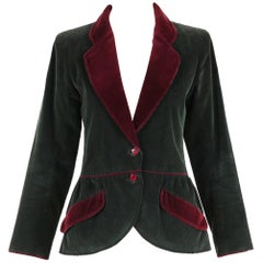 Yves Saint Laurent YSL Green Corduroy Jacket W/Burgundy Velvet Trim