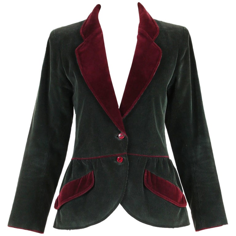 Yves Saint Laurent YSL Green Corduroy Jacket W/Burgundy Velvet Trim For Sale