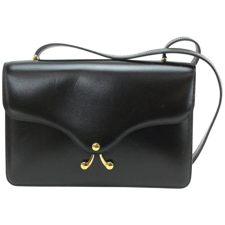 Hermes Black Leather Gold Emblem Envelope Shoulder Flap Bag