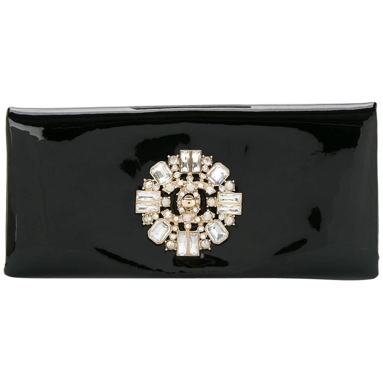 Chanel Black Patent Crystal Stone Evening Flap Clutch Bag W/Box For Sale