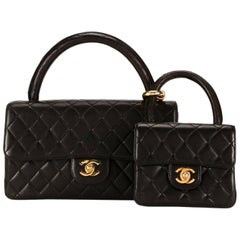 Chanel Black Lambskin Gold Kelly Style Top Handle Satchel Small Medium Flap Bags