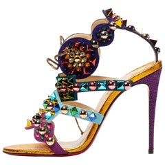 Christian Louboutin New Multi Color Gold Tribal High Heels Sandals in Box