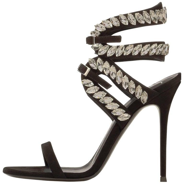 Giuseppe Zanotti New Black Suede Crystal Sandals Heels W/Box