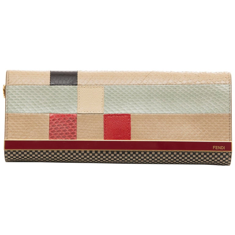 Fendi Graphic Snakeskin Clutch, Spring 2013 For Sale