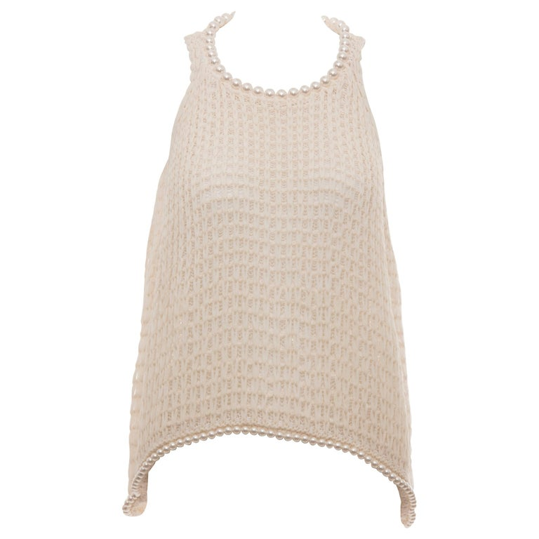 Chanel Cream Silk Blend Open Knit Top With Pearl Embellishments, Spring 2009 For Sale
